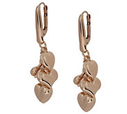 As Is Bronzo Italia Polished Heart Charm Dangle Earrings - J318810