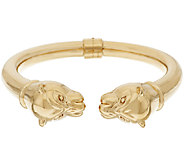 14K Gold Polished Small Panther Head Hinged Cuff - J319610
