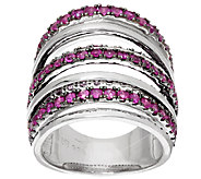 Sterling Silver Blue or Pink Sapphire Wide Band Ring, 2.00 cts - J319910