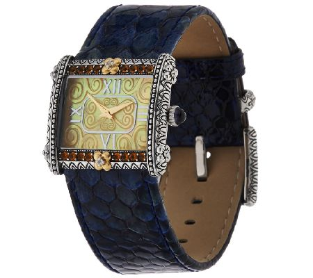 Barbara Bixby Stainless & 18K East West Leather Watch