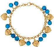 As Is VicenzaGold 8 Turquoise & Heart Charm Bracelet, 14K - J321310