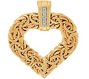 14K Gold Heart Byzantine Pendant w/ Diamond Accents - J321510
