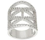 Italian Silver Sterling Diamonique Deco Design Ring - J322710