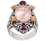 Barbara Bixby Sterling & 18K 8.80 cttw Rose Quartz & Rhodolite Ring - J324410