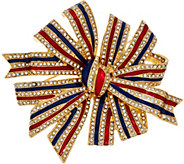 Joan Rivers Patriotic Enamel & Crystal Bow Pin - J327810