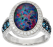 Judith Ripka Sterling Silver Opal Triplet & London Blue Topaz Ring - J328810