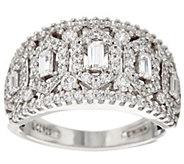 Diamonique Domed Baguette Ring, Sterling - J328910