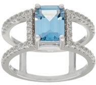 Diamonique Band Ring w/ Simulated Gemstone, Sterl. or 14K