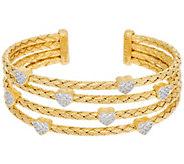 Judith Ripka 14K Clad Large Verona Heart Multi-row Cuff Bracelet 27.3g - J329810