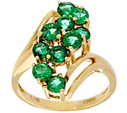 Zambian Emerald Elongated Waterfall Design Ring 14K, 1.50 cttw - J330210