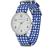 Isaac Mizrahi Live! Gingham Grosgrain Watch - J333610