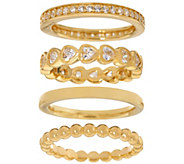 Diamonique Set of Four Stack Rings, Sterling or 14K Clad - J334210