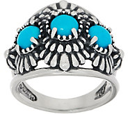 American West Sleeping Beauty Turquoise Sterling Silver Concha Ring - J350810