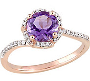14K Gold 1.30 ct Amethyst & 1/10 cttw Diamond Floral Halo Ring - J377110