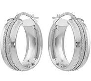 14K Double Glitter-Infused Oval Hoop Earrings - J377310