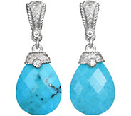 Judith Ripka Sterling Faceted Turquoise & Diamonique Earrings - J377410