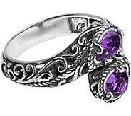 Carolyn Pollack Sterling Amethyst Bypass Ring - J377510
