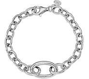 Italian Silver Oval Link Bracelet Sterling, 12.5g - J379810