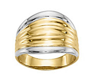 14K Gold Two-Tone Ribbed Dome Ring - J382110