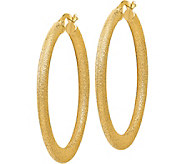 Italian Gold 1-1/2 Satin Tapered Hoop Earrings14K, 3.8g - J382210