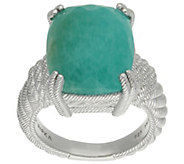 Judith Ripka Sterling Cushion-Cut Amazonite Ring - J383210