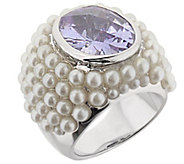 Lauren G Adams Silvertone Cultured Pearl Cluster Cocktail Ring - J383410