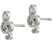 Steel by Design Treble Clef Stud Earrings - J383810