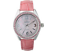 Peugeot Ladies Crystal Bezel Croco-Embossed Strap Watch - J103411