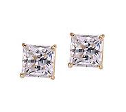 Diamonique 4.00 ct tw Princess Stud Earrings, 14K Gold - J105311