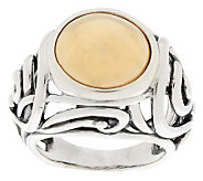 As Is Carolyn Pollack Sterling and Brass Cabochon Scroll Ring - J273411