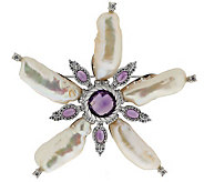 Judith Ripka Sterling Fresh Water Baroque Pearl & Amethyst Pin - J288111