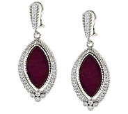 Judith Ripka Sterling 12.6ct Ruby & 8/10ct Diamonique Drop Earrings - J288711