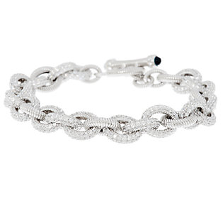 Product image of Judith Ripka Sterling 10.5ct Pave Diamonique Oval Link Toggle Bracelet