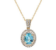 Master Cut 1.65 cts Teal Apatite Pendant w/ 18 Chain, 14K - J295011