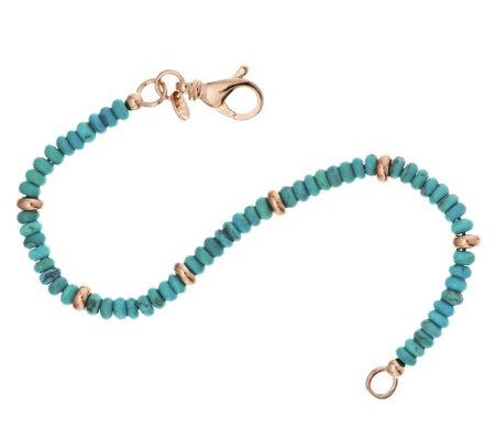bronze turquoise bead bracelet by bronzo italia
