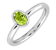 Simply Stacks Sterling & Oval Peridot Ring - J299411