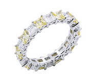 Diamonique & Canary Eternity Band Ring, Platinum Clad - J302411