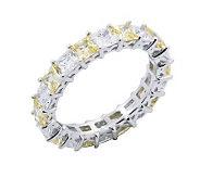 Diamonique & Canary Eternity Band Ring,Platinum Clad - J302411