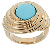 14K Gold Sleeping Beauty Turquoise Polished Swirl Ring - J319411