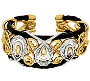Carolyn Pollack Sterling &Brass Braided Leather Scroll Design Bold Cuff - J320111