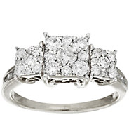 As Is 3-Stone Cluster 1.00 ct Princess Shaped Diamond Ring, 14K by Affinity - J320211