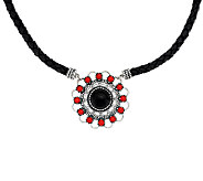 Coral & Onyx Sterling Silver Leather Necklace by American West - J321411