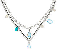 Michael Dawkins Sterling 11.00 cttw Blue Topaz Triple Chain Necklace - J323111