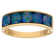 Australian Opal Triplet Channel Set Band Ring 14K Gold - J324511