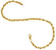 14K Gold 6-3/4 Diamond Cut Rope Chain Bracelet - J327311