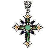 Barbara Bixby Sterling & 18K Abalone & Gemstone Cross Enhancer - J327811