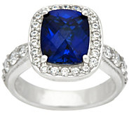 Diamonique Emerald Cut Simulated Gemstone Ring, Platinum Clad - J328911