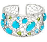 Judith Ripka Sterling 5.00 cttw Gemstone & Turquoise Cuff - J329611