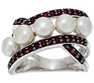 As Is Honora Cultured Pearl 5.0mm & .50cttw Gemstone Sterling Ring - J332111