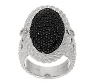 As Is Judith Ripka Sterling 1.40ct Black Spinel Oval Cocktail Ring - J332711